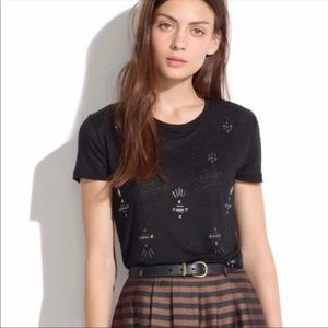 Madewell Jewel Studded Tee in Black Size Small